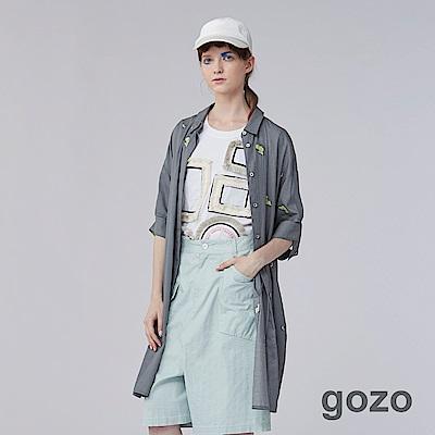 gozo 落葉印花解構袖口襯衫洋裝(深灰)