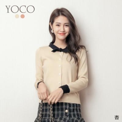 東京著衣-YOCO 甜心千金撞色小領結針織上衣(共二色)