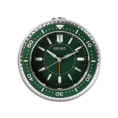 SEIKO 精工 / 潛水錶造型 貪睡鬧鈴 指針靜音鬧鐘 / 綠色 / QHE184M