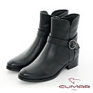 【CUMAR】中性之美簡約感扣環機車工程短靴-黑色