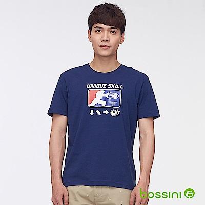bossini男裝-印花短袖T恤48海軍藍