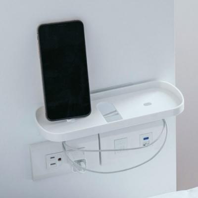 樂嫚妮 手機充電收納架 手機架 遙控器收納架-白
