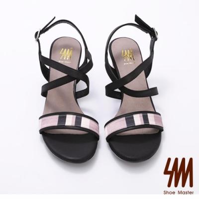 SM-幾何圖形交叉扣環低跟涼鞋