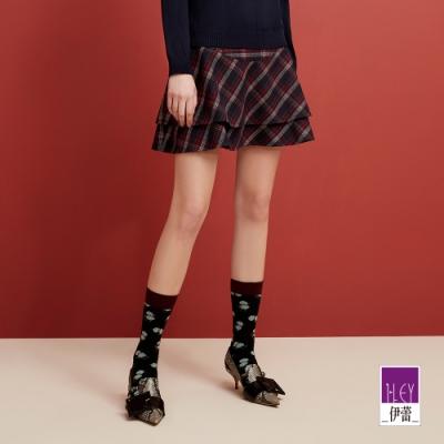 ILEY伊蕾 時尚英格蘭格紋褲裙(藍)
