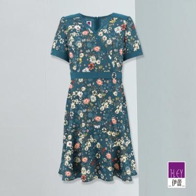 ILEY伊蕾 古典花朵V領收腰洋裝(綠)