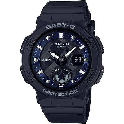 BABY-G 海水正藍指針數位雙顯女錶-黑X藍(BGA-250-1A)/30mm