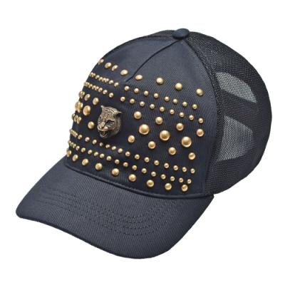 GUCCI 經典老虎頭鉚釘裝飾帆布棒球帽(黑_L)