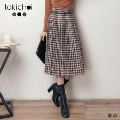 東京著衣 復古秋氛格紋百褶多色附腰帶長裙(共二色)
