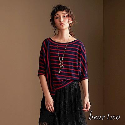 beartwo 條紋不規則拼接修身造型上衣(兩色)