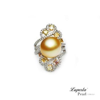 大東山珠寶 真鑽18K白金南洋金珍珠戒指  燦爛月光