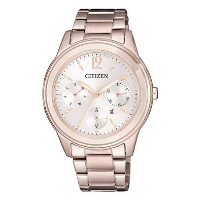 CITIZEN xC光動能絕代氣質三眼腕錶-玫瑰金(FD2064-59A)/35mm