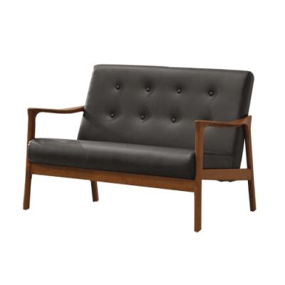 文創集 奧布現代風皮革實木二人座沙發椅-116x73x77.5cm免組