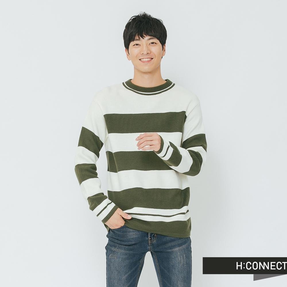 H:CONNECT 韓國品牌 男裝-寬條柔軟針織上衣-綠(快)