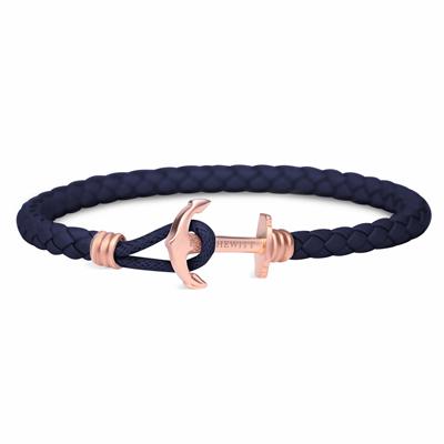 PAUL HEWITT 單繩玫瑰金釦深藍皮革手環