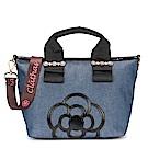 CLATHAS 山茶花裝飾丹寧織布兩用托特包-小/藍色