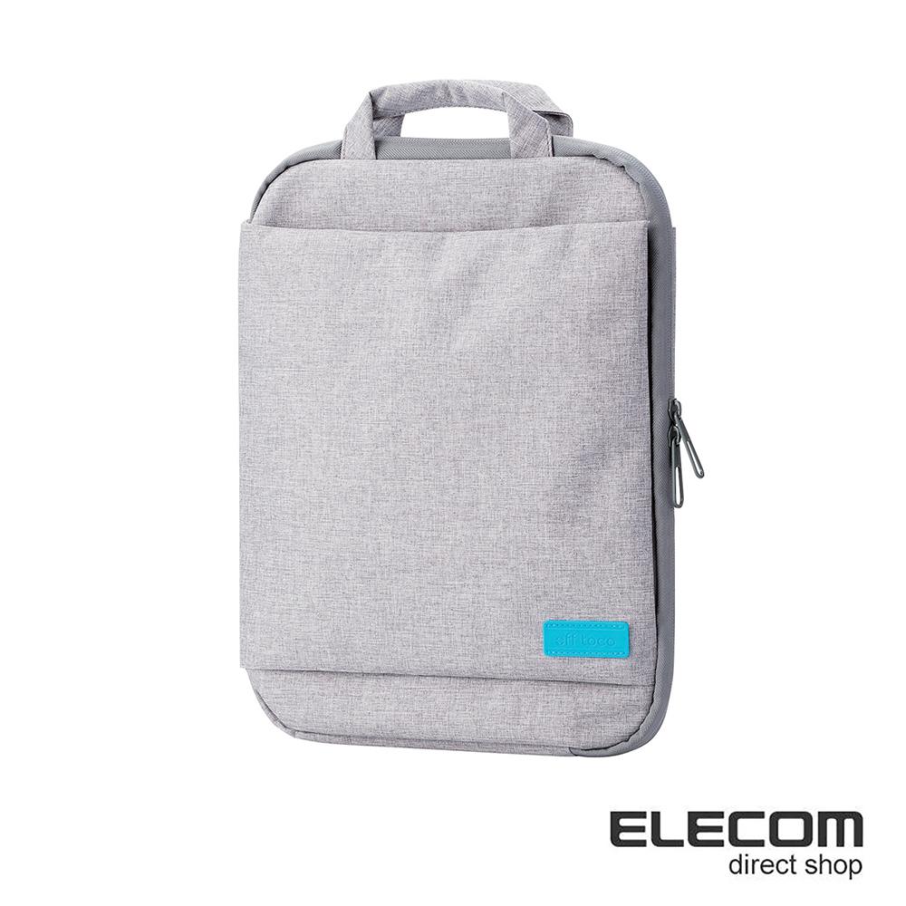 ELECOM 帆布薄型手提收納袋13.3吋-灰