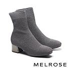襪靴 MELROSE 摩登時尚彈力銀蔥飛織布粗高跟襪靴-灰