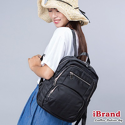 iBrand後背包 輕時尚多功能口袋拉鍊尼龍後背包-黑