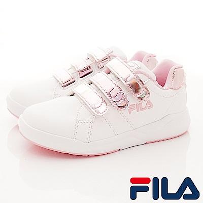 FILA頂級童鞋 義式經典款 EI13S-155白粉(中大童段)