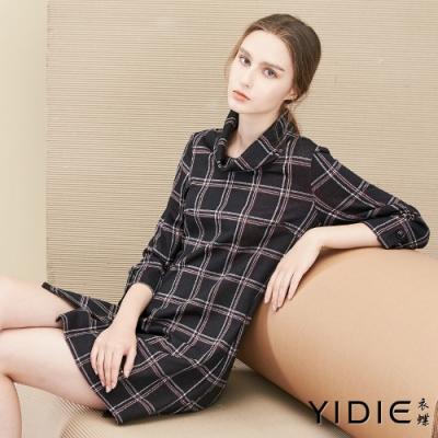 【YIDIE衣蝶】雙色線條方格開衩短洋裝