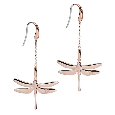Emporio Armani亞曼尼 蜻蜓造型掛勾式長耳環 玫瑰金