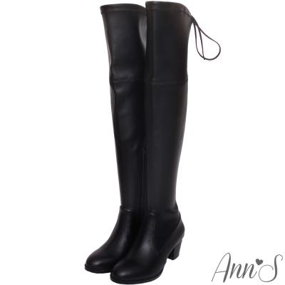 Ann'S俐落線條-羊紋後蝴蝶結貼腿彈力側拉鍊過膝靴-黑