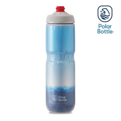 【Polar Bottle】24oz 雙層保冷噴射水壺 RIDGE 藍-銀