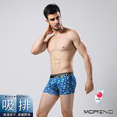 男內褲 骷髏圖騰吸排四角褲/平口褲(藍骷髏紋) MORINO