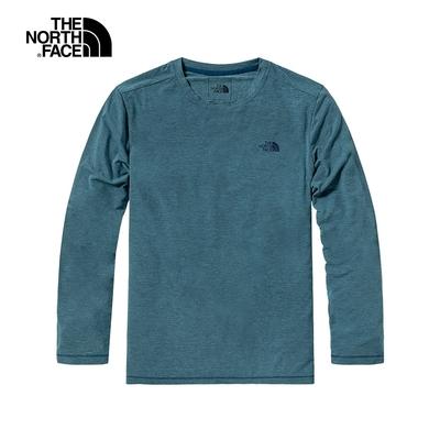 THE NORTH FACE 男款 吸濕排汗長袖上衣 藍-NF0A4UAIQ4V