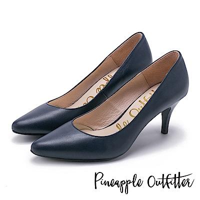 Pineapple Outfitter 簡約風尚 素面尖頭高跟鞋-深藍