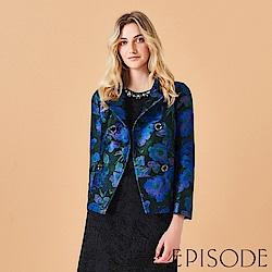 EPISODE - 時尚姿彩提花設計外套開襟衫(藍)