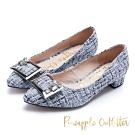 Pineapple Outfitter 復古女伶 格紋金屬方扣尖頭粗跟鞋-紫色