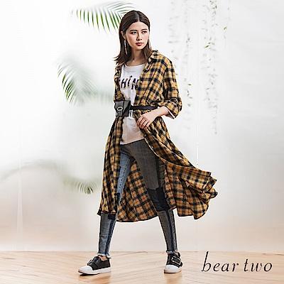 beartwo 經典英倫風格紋休閒洋裝(黃色)