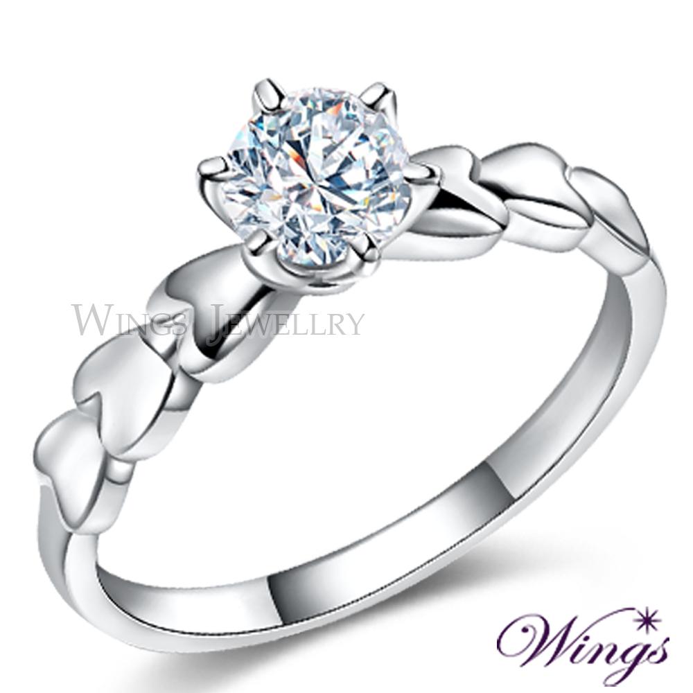 WINGS 心的約定 八心八箭方晶鋯石美鑽925純銀精鍍白K金戒指