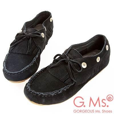G.Ms. 牛麂皮綁帶流蘇休閒豆豆鞋-黑色