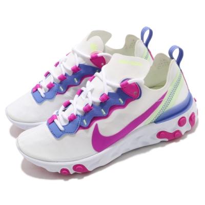 Nike 慢跑鞋 React Element 55 女鞋 輕量透氣 舒適避震 運動 球鞋 穿搭 白 粉紫 BQ2728104