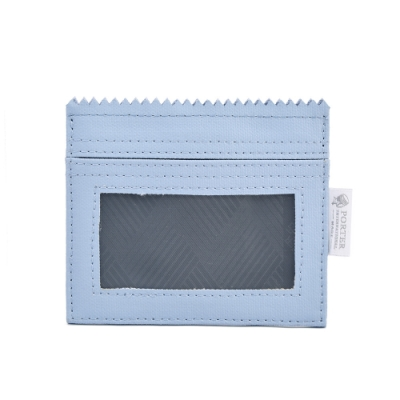PORTER - 生活選物PUFF橫式掛繩證件套 - 粉藍