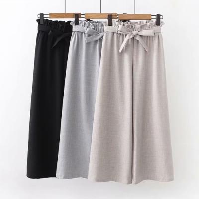 La Belleza素面鬆緊腰荷葉高腰闊腿褲西裝寬褲