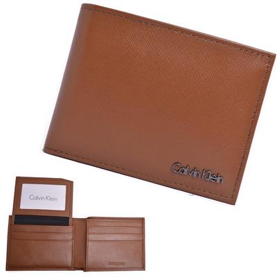 Calvin Klein棕色防刮立體LOGO真皮附活動卡夾雙摺短夾