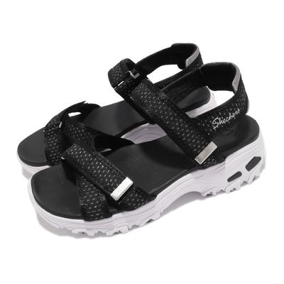 Skechers 涼鞋 D Lites 休閒鞋 魔鬼氈 女鞋 吸震 耐磨 修飾腿部線條 瑜珈鞋墊 黑 白 119241BKPW