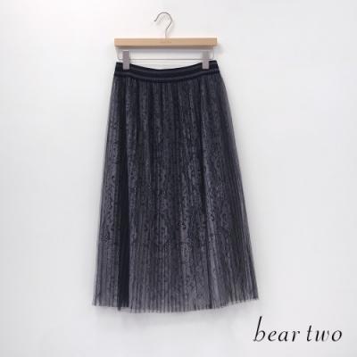 bear two- 蕾絲百褶裙 - 灰