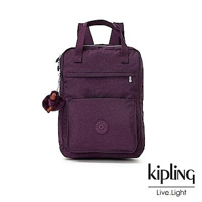 Kipling 深紫素面大容量實用手提後背包-NEW SALEE