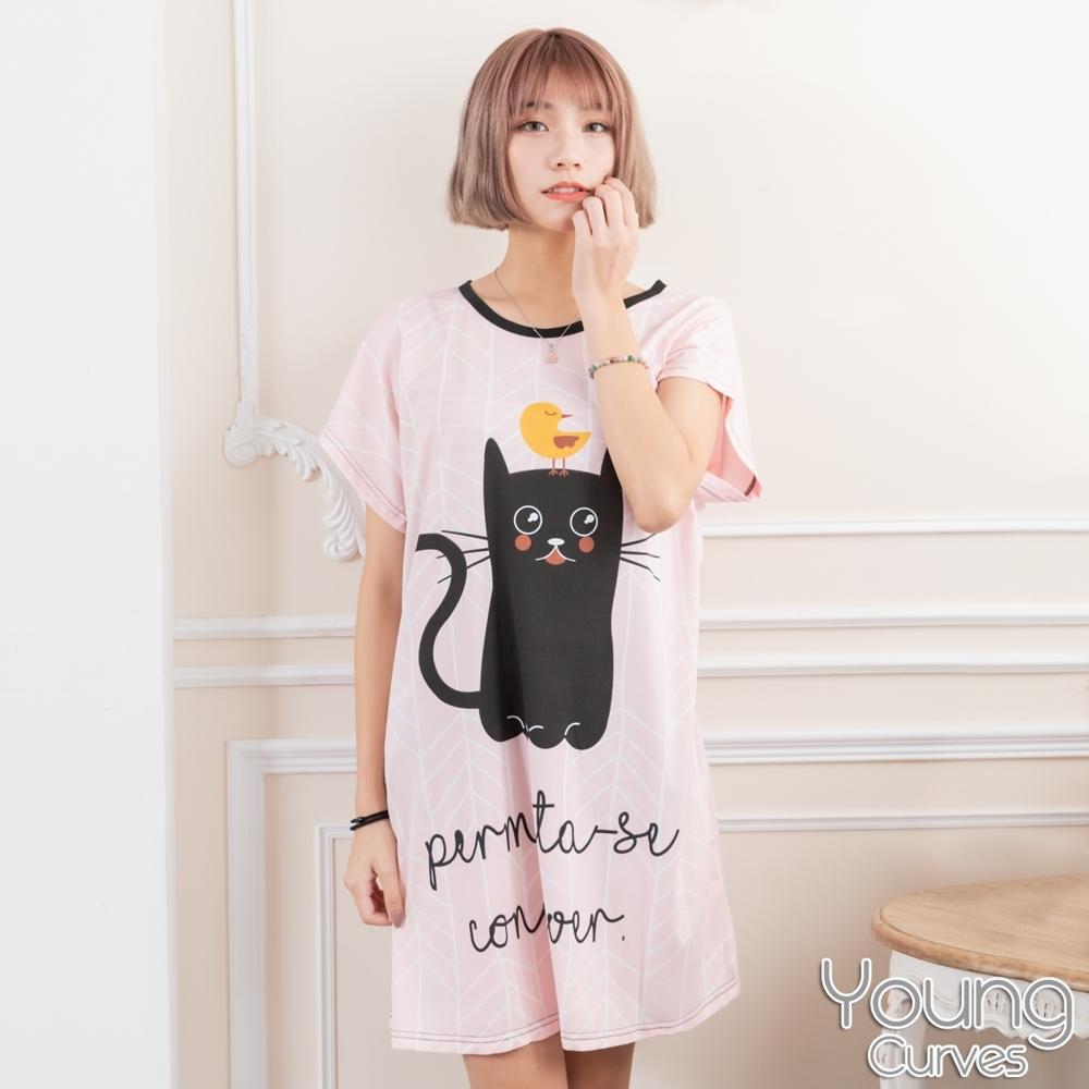 睡衣 牛奶絲質短袖連身睡衣(C01-100718黑貓與小雞) Young Curves