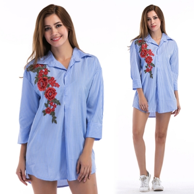 【KEITH-WILL】(現貨)歐美寬鬆條紋中長款襯衫-1色