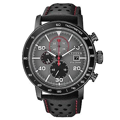 CITIZEN 星辰光動能真皮三眼計時手錶(CA0645-15H)-灰X黑/45mm