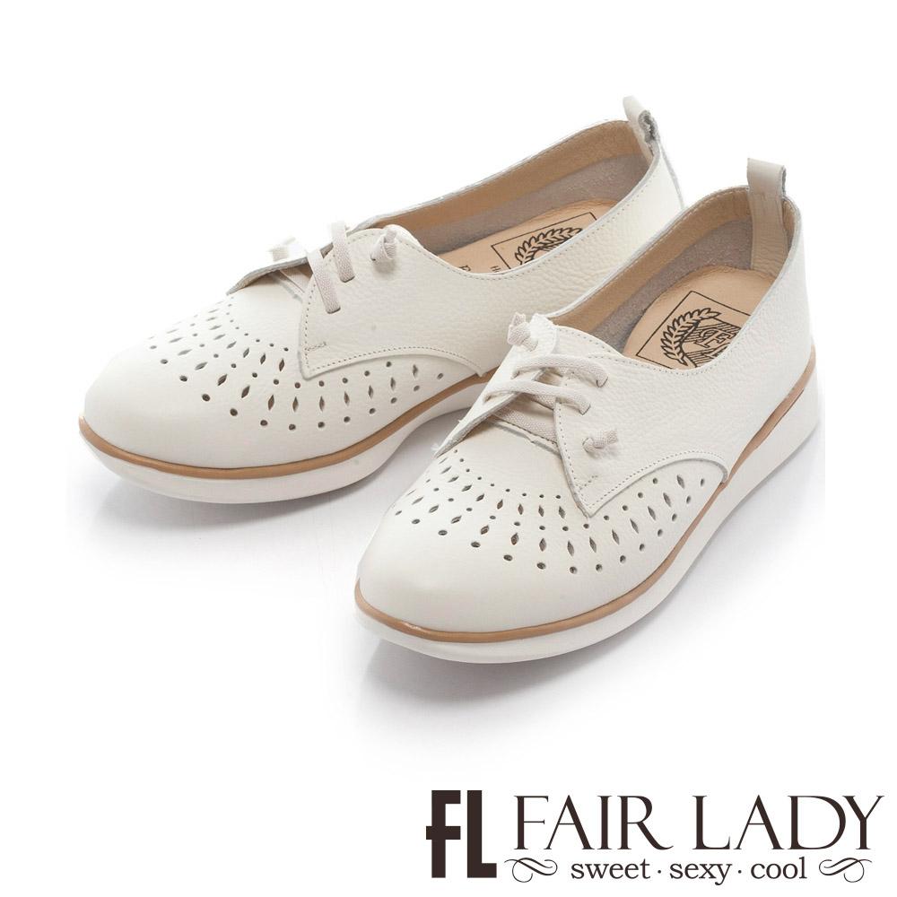 【FAIR LADY】Soft Power軟實力 縷空滾邊荔枝紋皮質休閒鞋 白