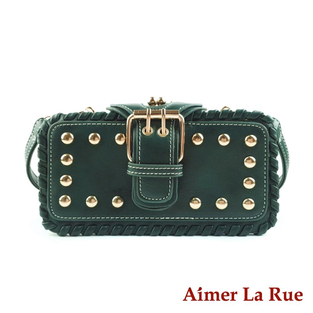 Aimer La Rue 哥維那個性鎖縫鉚釘多層迷你側背斜背包(三色)