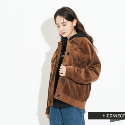 H:CONNECT 韓國品牌 女裝-燈芯絨排扣夾克外套-棕