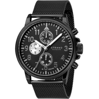STRAND 丹麥海之星-大三眼米蘭帶飛行腕錶 /黑-46mm(S714GMBBMB)
