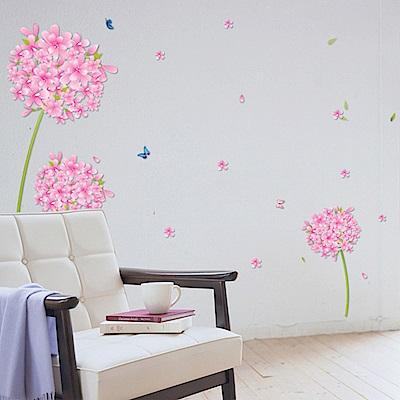 半島良品 DIY無痕壁貼-粉紅花蒲公英 XL7027 50x70cm